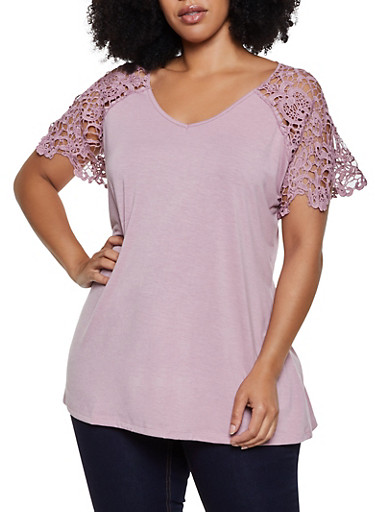 Plus Size Crochet Yoke Short Sleeve Top,MAUVE,large