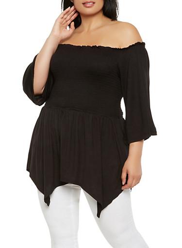Plus Size Off the Shoulder Smocked Top,BLACK,large