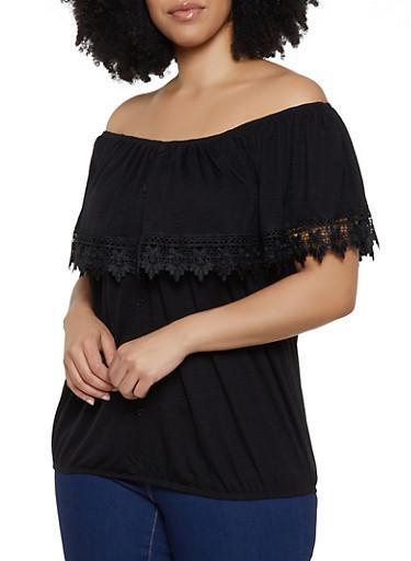 Plus Size Crochet Trim Off the Shoulder Top | 0912051067085,BLACK,large