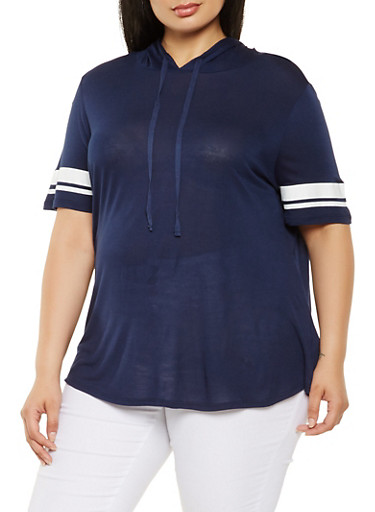 Plus Size Hooded Tunic Top,NAVY,large
