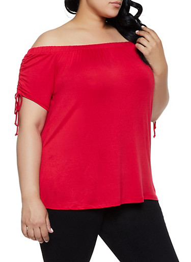 Plus Size Off the Shoulder Drawstring Sleeve Top,RED,large