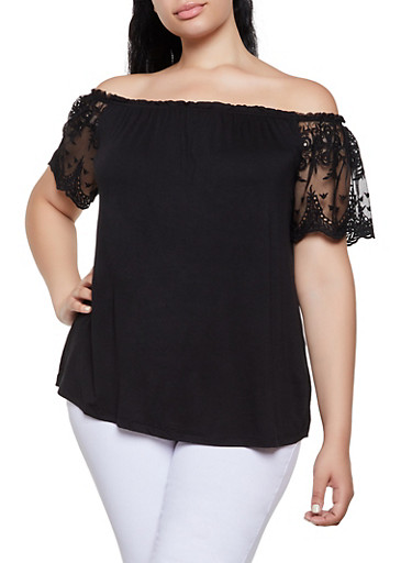 Plus Size Mesh Sleeve Off the Shoulder Top,BLACK,large