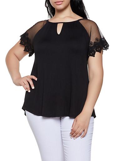 Plus Size Crochet Sleeve Top,BLACK,large