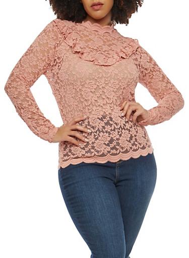 Plus Size Long Sleeve Lace Ruffle Top,MAUVE,large