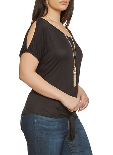 Plus Size Slit Sleeve Top with Necklace,BLACK,large
