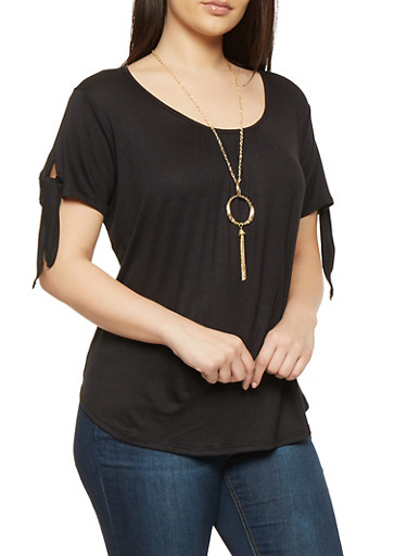 Plus Size Tie Sleeve Tee with Necklace,BLACK,large