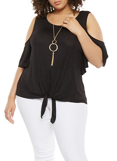 Plus Size Cold Shoulder Top with Necklace,BLACK,large