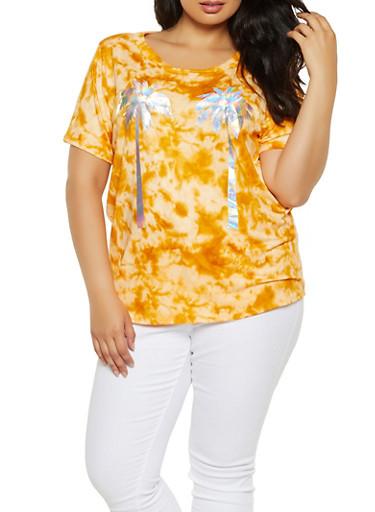 Plus Size Tie Dye Iridescent Palm Tree Tee,MUSTARD,large