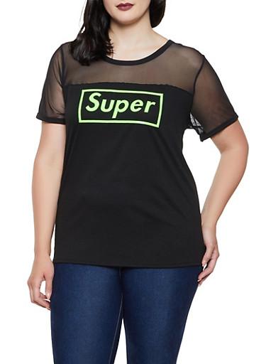 Plus Size 3D Super Graphic Mesh Yoke Tee,LIME,large