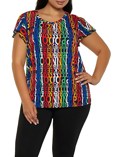 Plus Size Flutter Cap Sleeve Printed Top,NAVY,large