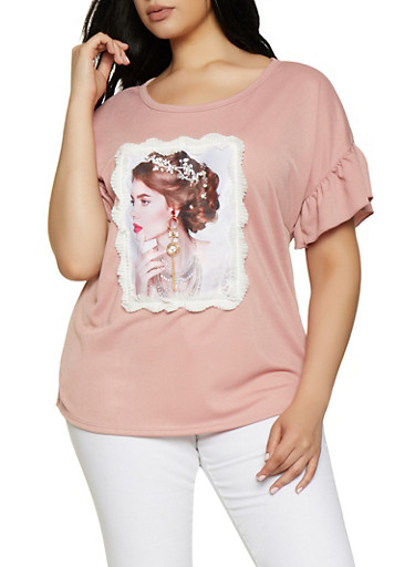 Plus Size Rhinestone Studded Face Patch Top,MAUVE,large