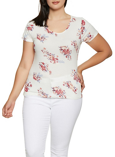Plus Size Floral Soft Knit Tee | 0912060583073,IVORY,large