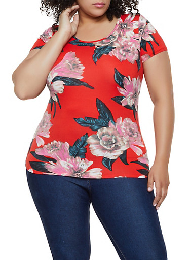 Plus Size Floral Soft Knit Tee,RED,large