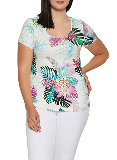 Plus Size Floral Soft Knit Tee | 0912060583729,WHITE,large