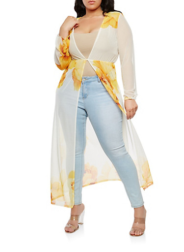 Plus Size Printed Mesh Duster,YELLOW,large