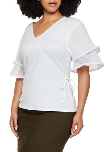 Plus Size Wired Mesh Sleeve Top,IVORY,large