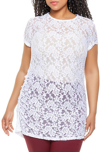 Plus Size Lace Tunic Top,WHITE,large