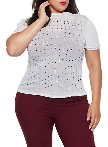 Plus Size Multi Color Rhinestone Studded Mesh Top,WHITE,large