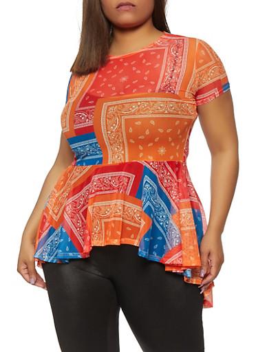 Plus Size Bandana Print Mesh High Low Top,MULTI COLOR,large