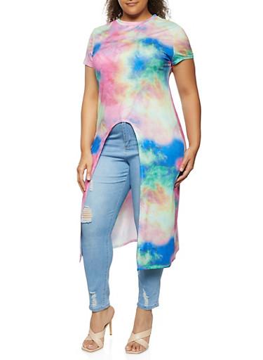 Plus Size Tie Dye Split Front Maxi Top,MULTI COLOR,large
