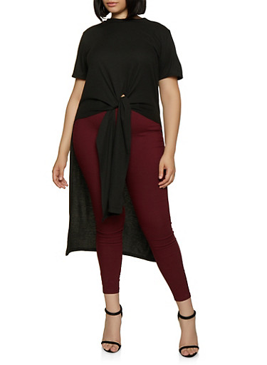 Plus Size Ribbed High Low Top,BLACK,large