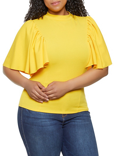 Plus Size Crepe Knit Flutter Sleeve Top | 0912062122612,YELLOW,large