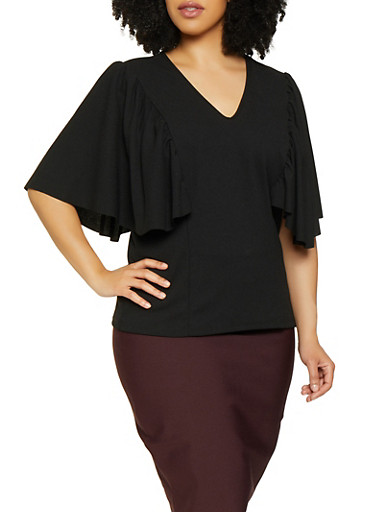 Plus Size Ruffled Flutter Sleeve Top,BLACK,large