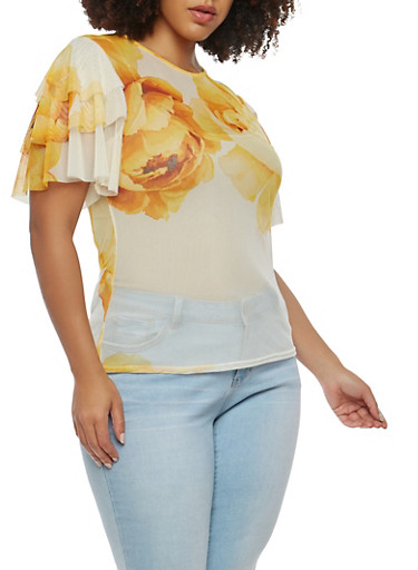 Plus Size Sheer Floral Mesh Top,YELLOW,large