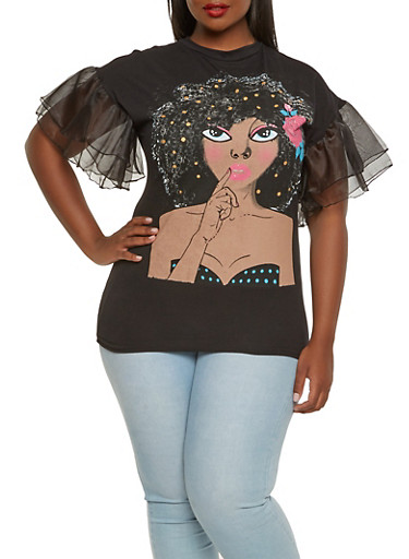 Plus Size Graphic Tiered Sleeve Tee,BLACK,large