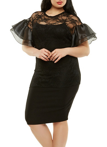 Plus Size Tiered Organza Sleeve Top,BLACK,large