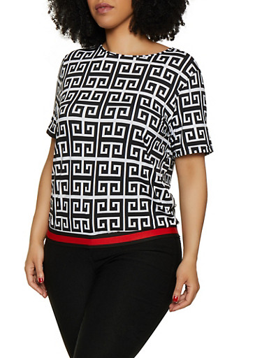 Plus Size Geometric Print Top,BLACK/WHITE,large
