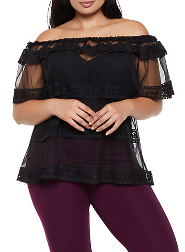 Plus Size Off the Shoulder Crochet Trim Mesh Top,BLACK,large