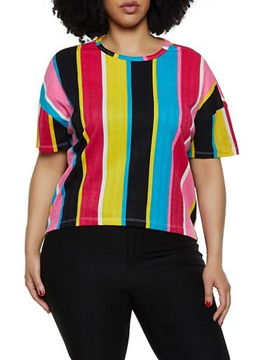 Plus Size Vertical Stripe T Shirt,PINK,large