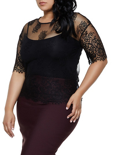 Plus Size Floral Lace Mesh Top,BLACK,large