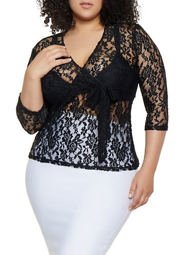 Plus Size Lace Faux Wrap Top,BLACK,large