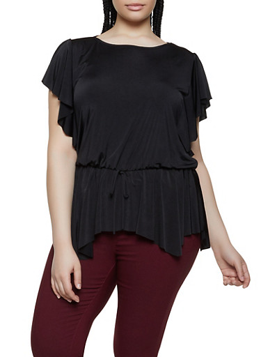 Plus Size Flutter Sleeve Drop Waist Top,BLACK,large