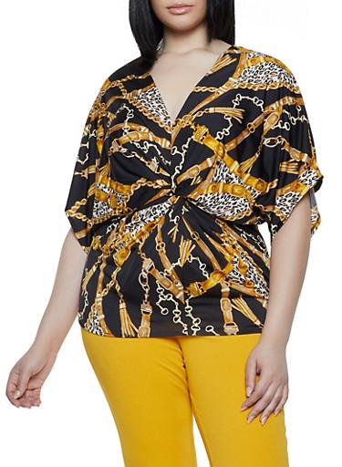 Plus Size Status Leopard Print Twist Front Top,BLACK/WHITE,large