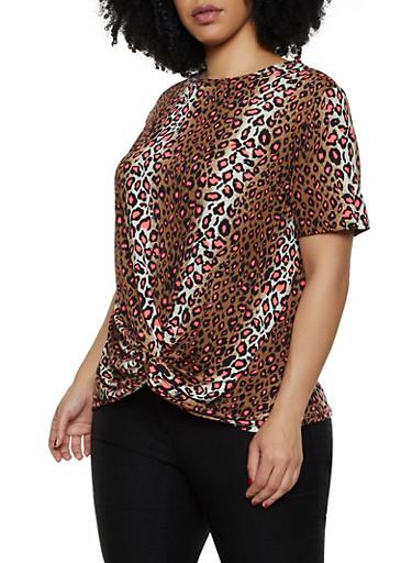 Plus Size Leopard Twist Front Top,PINK,large