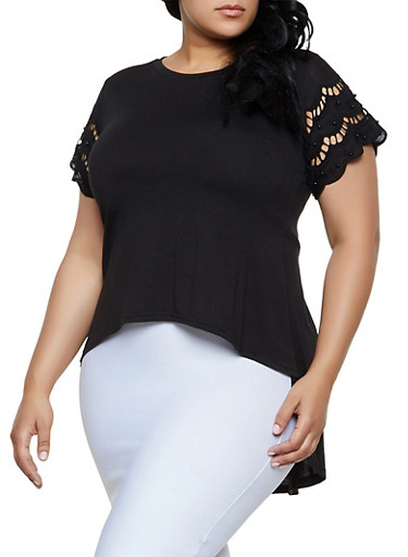 Plus Size Studded Crochet Sleeve High Low Top,BLACK,large