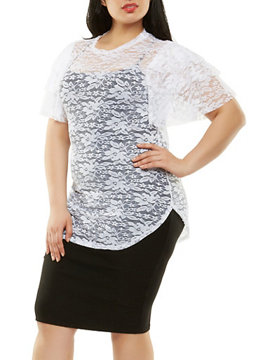 Plus Size Tiered Sleeve Lace Top,WHITE,large