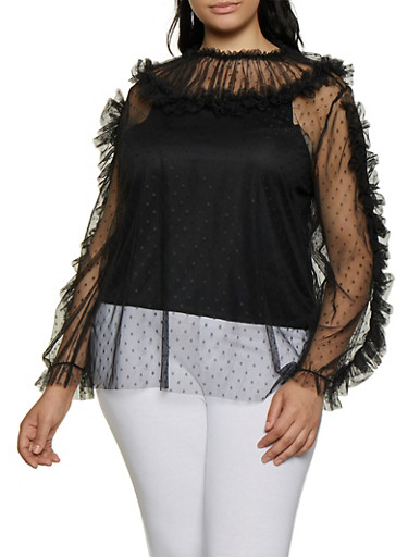 Plus Size Ruffled Swiss Dot Mesh Top,BLACK,large