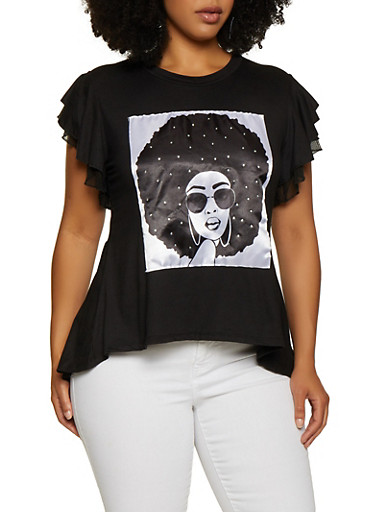 Plus Size Girl Face Patch High Low Tee,BLACK,large