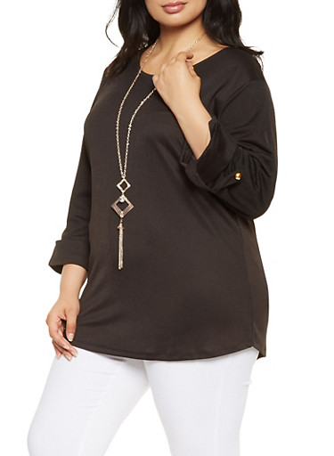 Plus Size Tabbed Sleeve Top with Necklace,BLACK,large