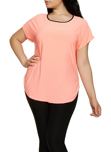 Plus Size Contrast Trim High Low Top,CORAL,large