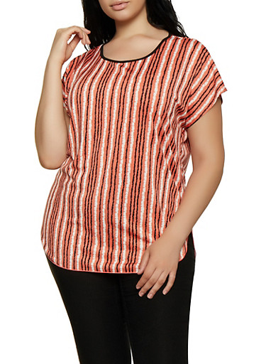 4a0457ef7f6da4 Plus Size High Low Striped Top,CORAL,large