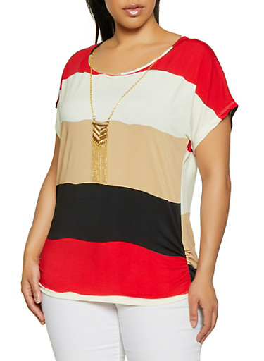 Plus Size Striped Ruched Side Top with Necklace,BLACK,large