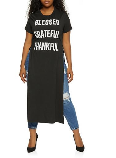 Plus Size Blessed Grateful Thankful Maxi Top,BLACK,large