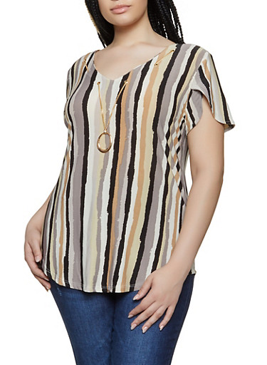 Plus Size Striped Threaded Neckline Top,GRAY,large
