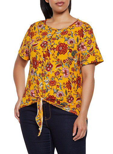 Plus Size Floral Tie Front Tee   0912062702996,MUSTARD,large
