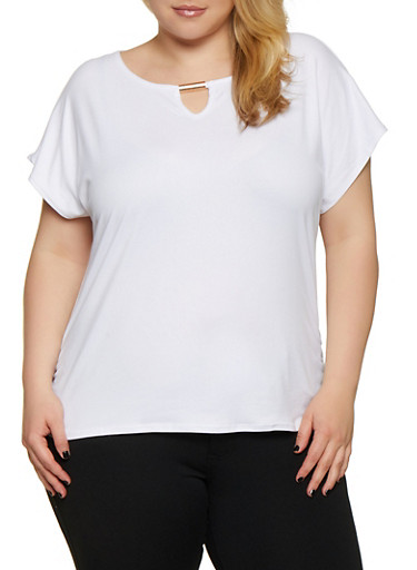 Plus Size Ruched Side Soft Knit Tee,WHITE,large